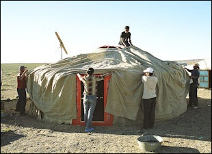 The felt canvas poles and lattices typically weigh about 250 kilograms. That may sound like a lot but it is much lighter than a house. & STEPPE HORSEMAN TENTS FOOD AND DRINK | Facts and Details