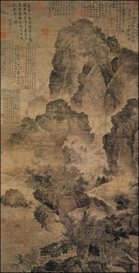 Chinese old scroll painting A ride in spring by Zhao Yong in Yuan dynasty