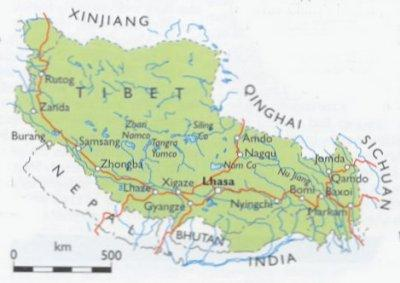 TIBET TRAVELING IN TIBET AND THE TIBETAN RAILWAY Facts And Details - Tibet in world map