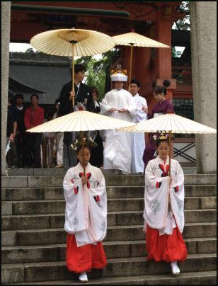 Do Shinto people wear special clothing?