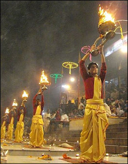 20120502-Aarti_raised_up_during_evening_Ganga Varanasi.jpg